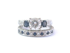 Other 18Kt Round Diamond & Sapphire Milgrain White Gold Wedding Set GIA 1.35