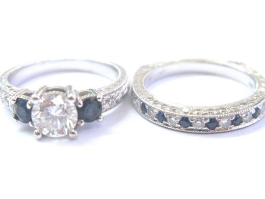 Other 18Kt Round Diamond & Sapphire Milgrain White Gold Wedding Set GIA 1.35 Image 2
