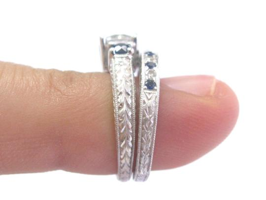 Other 18Kt Round Diamond & Sapphire Milgrain White Gold Wedding Set GIA 1.35 Image 3