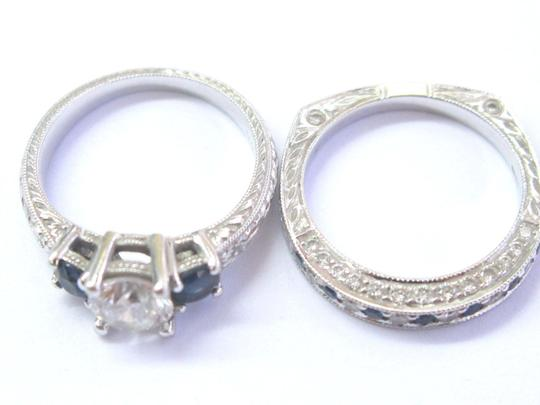 Other 18Kt Round Diamond & Sapphire Milgrain White Gold Wedding Set GIA 1.35 Image 5