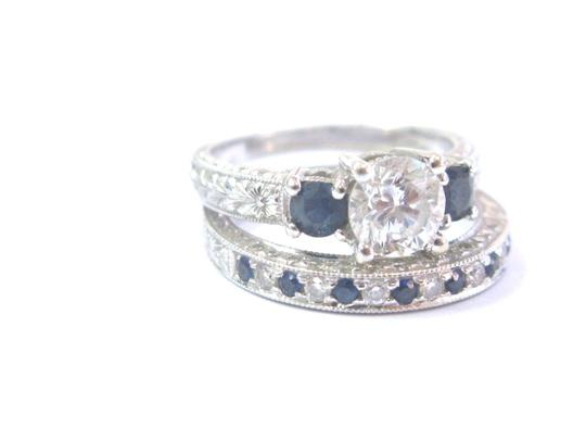 Other 18Kt Round Diamond & Sapphire Milgrain White Gold Wedding Set GIA 1.35 Image 6