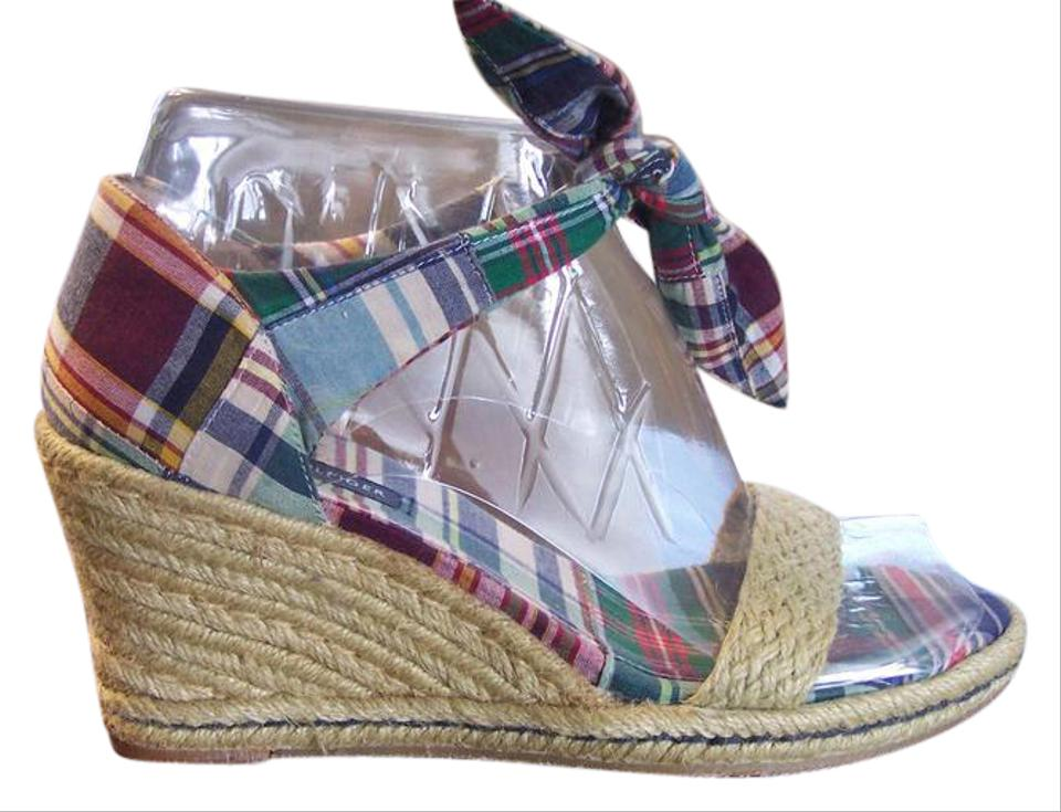 Tommy Blue Hilfiger Madras Plaid Red Blue Tommy Green Ankle Tie Wedges c3b8be
