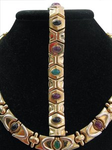Other Fine Ruby-Sapphire-Amethyst-Emerald Yellow Gold Necklace + Bracelet Se