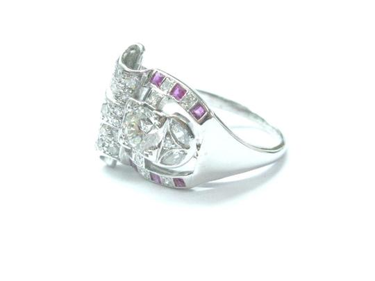 Other Platinum Vintage Gem Ruby Old European Cut Diamond Jewelry Ring 1.39CT Image 1