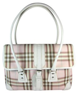 Burberry Leather Nova Pink White Medium Shoulder Bag