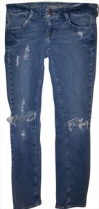 American Eagle Outfitters Women's Size 4 Distressed Straight Leg Jeans-Distressed