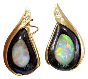 Other 18Kt Opal Diamond Pendant & Earrings Yellow Gold .50Ct