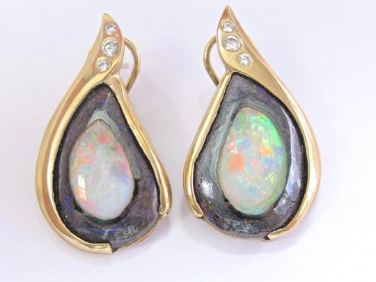 Other 18Kt Opal Diamond Pendant & Earrings Yellow Gold .50Ct Image 7