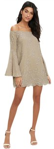 Lulu*s Embroidered Off Taupe Dress