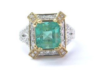 Other 18Kt Gem Green Emerald Diamond 2-Tone Solitaire W Accent Jewelry Ring