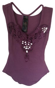 Free People Open Back Embroidery Top plum