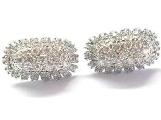 Other 18Kt Round Cut Diamond Cluster Huggie Earrings 2.02CT WG 1