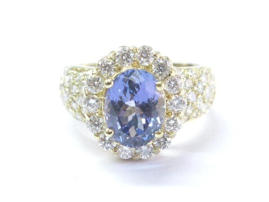 Other 18Kt Gem Tanzanite Diamond Yellow Gold Jewelry Ring 5.12Ct Image 0
