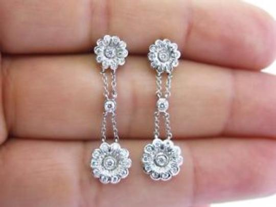 Tiffany & Co. Tiffany & Co Platinum Diamond Rose Double Drop Earrings .59Ct Image 5