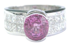 Other 18Kt Gem Pink Sapphire Diamond White Gold Jewelry Ring 3.50CT