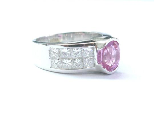 Other 18Kt Gem Pink Sapphire Diamond White Gold Jewelry Ring 3.50CT Image 1