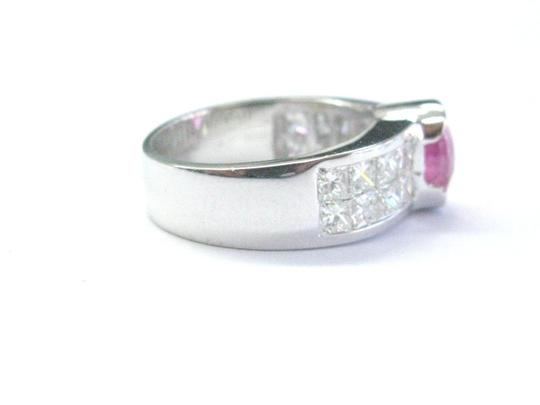 Other 18Kt Gem Pink Sapphire Diamond White Gold Jewelry Ring 3.50CT Image 2