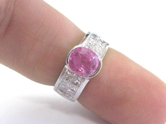 Other 18Kt Gem Pink Sapphire Diamond White Gold Jewelry Ring 3.50CT Image 4
