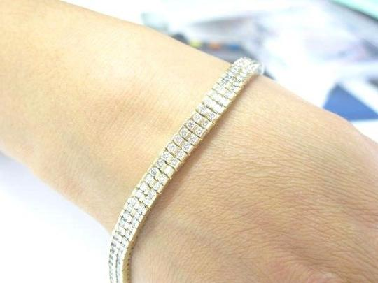 Other Fine Round Cut Diamond Two Row Yellow Gold Tennis Bracelet 6.24CT Image 2