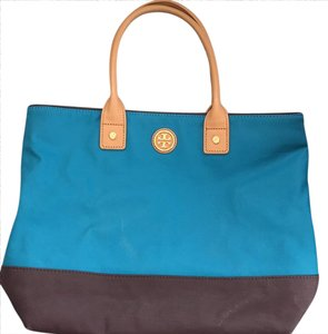 Tory Burch Satchel in turquoise,brown,tan