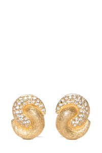 Dior Dior Gold-Tone & Crystal Swirl Earrings