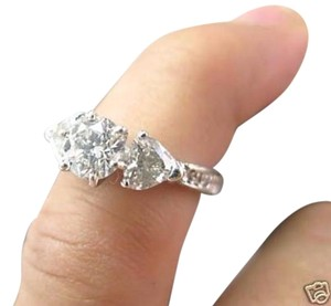 Other Fine 18KT Round & Heart Shape Diamond Engagement White Gold Ring