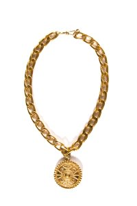 Chanel Chanel Gold-Tone Vintage Curb Chain Medallion Necklace