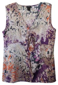 Ann Taylor New Lightweight Silky Oversized Sleeveless Top Purple, lavender, taupe, orange, off-white