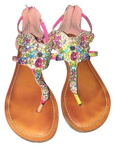 Gianni Bini Multicolor Rhinestones Pink Sandals