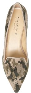 Aquatalia Crystal Accents Chic Design Made In Italy Genuine Leather Camouflage Flats