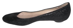 Jimmy Choo Sparkly Leather Made In Italy Black Flats
