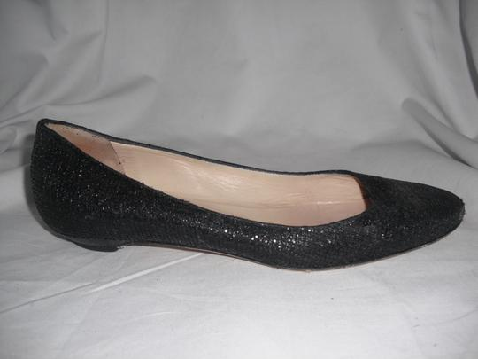 Jimmy Choo Sparkly Leather Made In Italy Black Flats Image 1