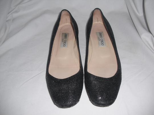Jimmy Choo Sparkly Leather Made In Italy Black Flats Image 2