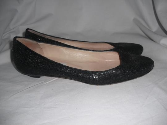 Jimmy Choo Sparkly Leather Made In Italy Black Flats Image 3