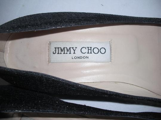 Jimmy Choo Sparkly Leather Made In Italy Black Flats Image 4