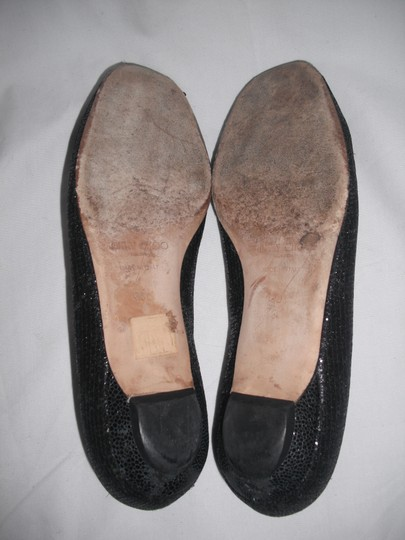 Jimmy Choo Sparkly Leather Made In Italy Black Flats Image 6