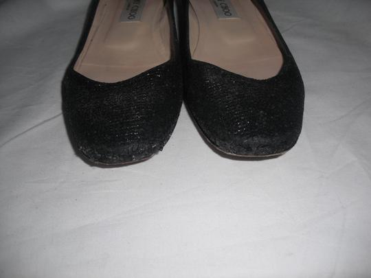 Jimmy Choo Sparkly Leather Made In Italy Black Flats Image 8