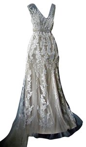 Maggie Sottero Ivory/Light Gold Lace and Tulle Lucinda 4mt036 Formal Wedding Dress Size 12 (L)