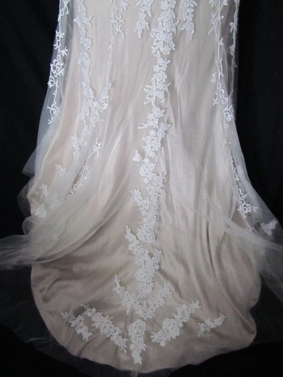 Maggie Sottero Ivory/Light Gold Lace and Tulle Lucinda 4mt036 Formal Wedding Dress Size 12 (L) Image 2