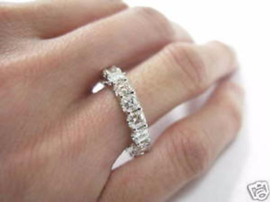 Other Fine Asscher Cut Diamond Eternity Ring 3.15Ct White Gold 14KT Sz6.5 Image 1