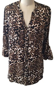 Twelfth St. by Cynthia Vincent Button Down Shirt leopard