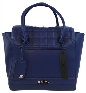 JOE'S Jeans Quilted Vegan Leather Gold Hardware Satchel in Blue