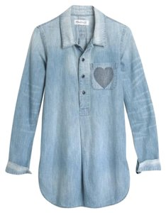 Madewell Chambray Denim Heart Cotton Popover Button Down Shirt