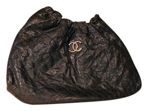 Chanel Caviar Leather Quilted Hobo Anitque Satchel in Black