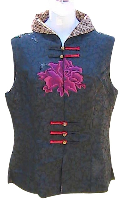 Lian Lin Sleeveless Chinese Top Black Floral
