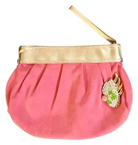 Lilly Pulitzer pink suede with gold band Clutch