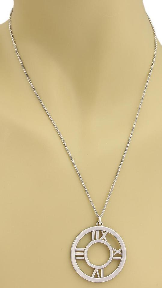 3808a06605640 Tiffany & Co. White Gold Roman Atlas 18k Large Numeral Pendant Necklace