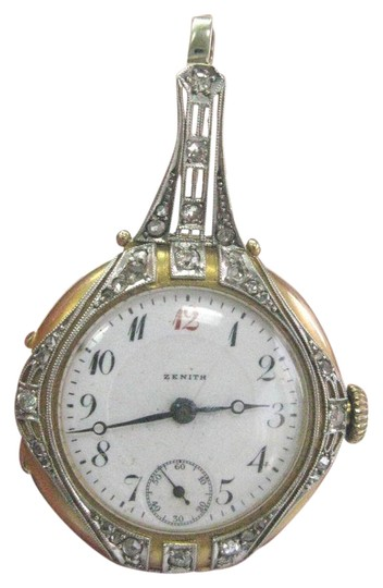 Zenith Vintage Zenith Yellow Gold 14Kt Blue Enamel Rose Cut Diamond Watch .35 Image 0