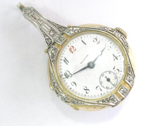 Zenith Vintage Zenith Yellow Gold 14Kt Blue Enamel Rose Cut Diamond Watch .35 Image 3