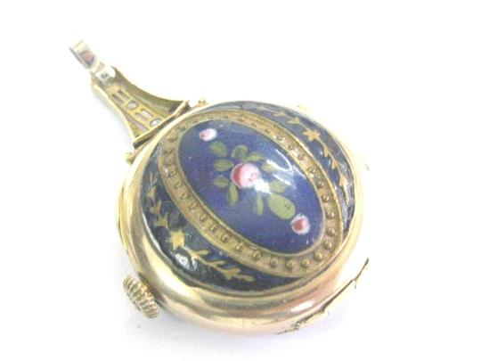 Zenith Vintage Zenith Yellow Gold 14Kt Blue Enamel Rose Cut Diamond Watch .35 Image 4